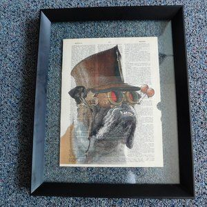 Vintage English Bulldog Framed Print on Book Page